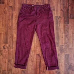 Gap broken-in straight khakis in maroon